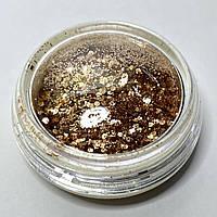 Блестки шестигранник и песок декор в баночке золото