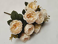 """Искусственные цветы. Букет роз """"Остин Винтаж"""" кремовый."""