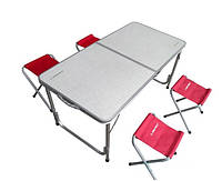 Туристичний стіл-валіза зі стільцями,4 штуки, фото 1