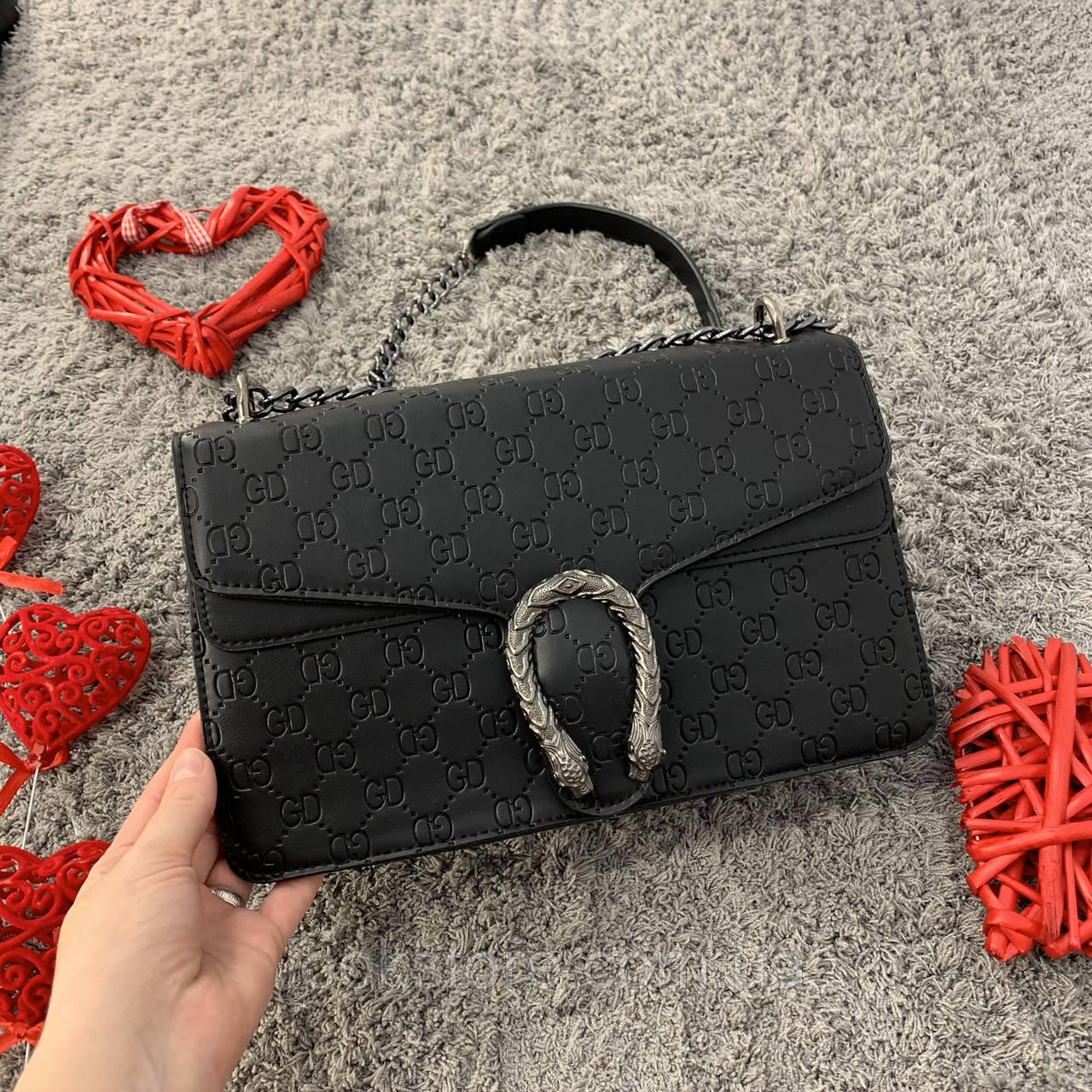 Маленькая женская сумка в стиле Гуччи черная