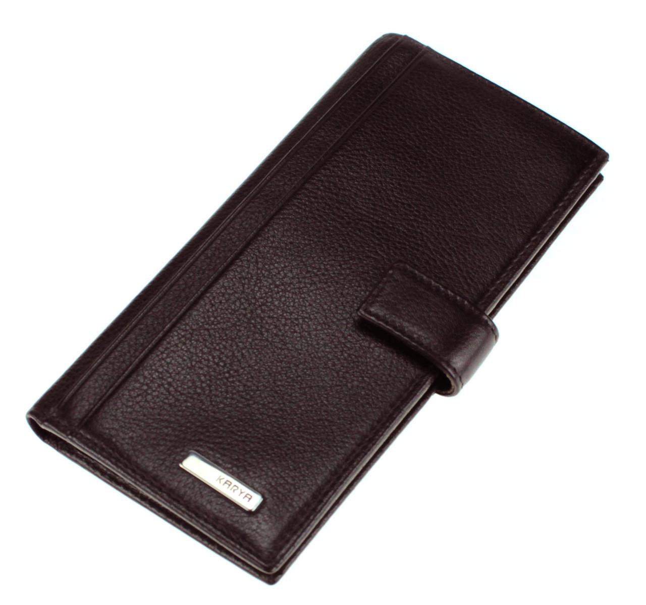 Вертикальный мужской кошелек (купюрник) Karya из натуральной кожи коричневый