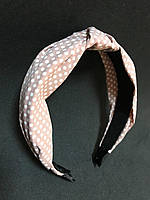 Обруч чалма для волосся з вузлом рожевий беж
