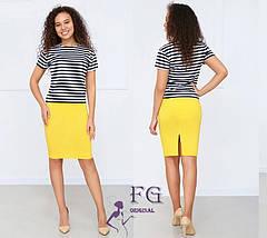 Яркий летний женский костюм-двойка юбка карандаш и футболка тельняшка, мятный, фото 2
