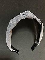 Обруч для волос чалма с узлом серый