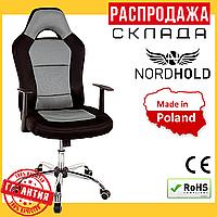 Офисное Компьютерное Кресло Nordhold Racer до 120 кг Серое Микросетка (Польша)