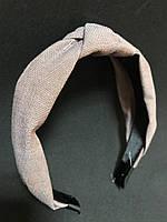 Обруч для волос чалма розово-бежевый