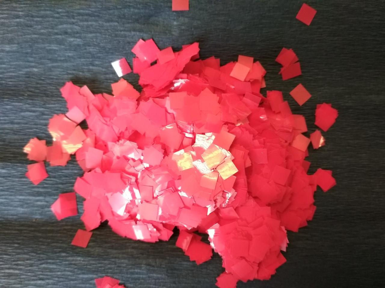 Аксесуари для свята конфеті квадратики 5мм червоний 100 грам