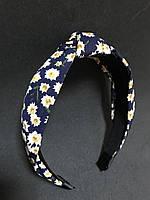 Обруч для волосся з вузлом у синій в квіточку