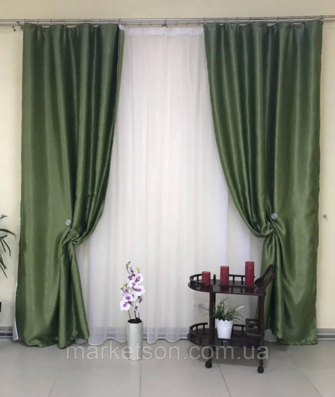 Готові сонцезахисні штори з щільної тканини блекаут софт на тасьмі