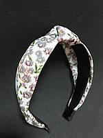 Обідок чалма для волосся в квіточку сіро-зелений