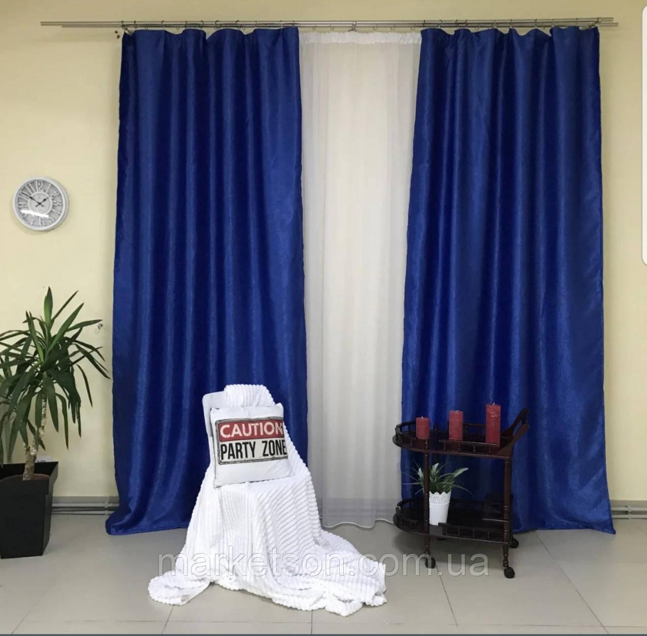 Готовые шторы солнцезащитные из плотной ткани блэкаут софт на тесьме