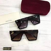 Женские квадратные солнцезащитные очки Gucci реплика коричневые, фото 1