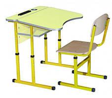 Комплект стол парта + стул ученический 1-местный антисколиозный с полкой регулируемый по высоте №4-6