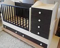 """Детская кроватка-трансформер с комодом, ящиками и маятником 3 в 1 """"Диона"""" Angel"""
