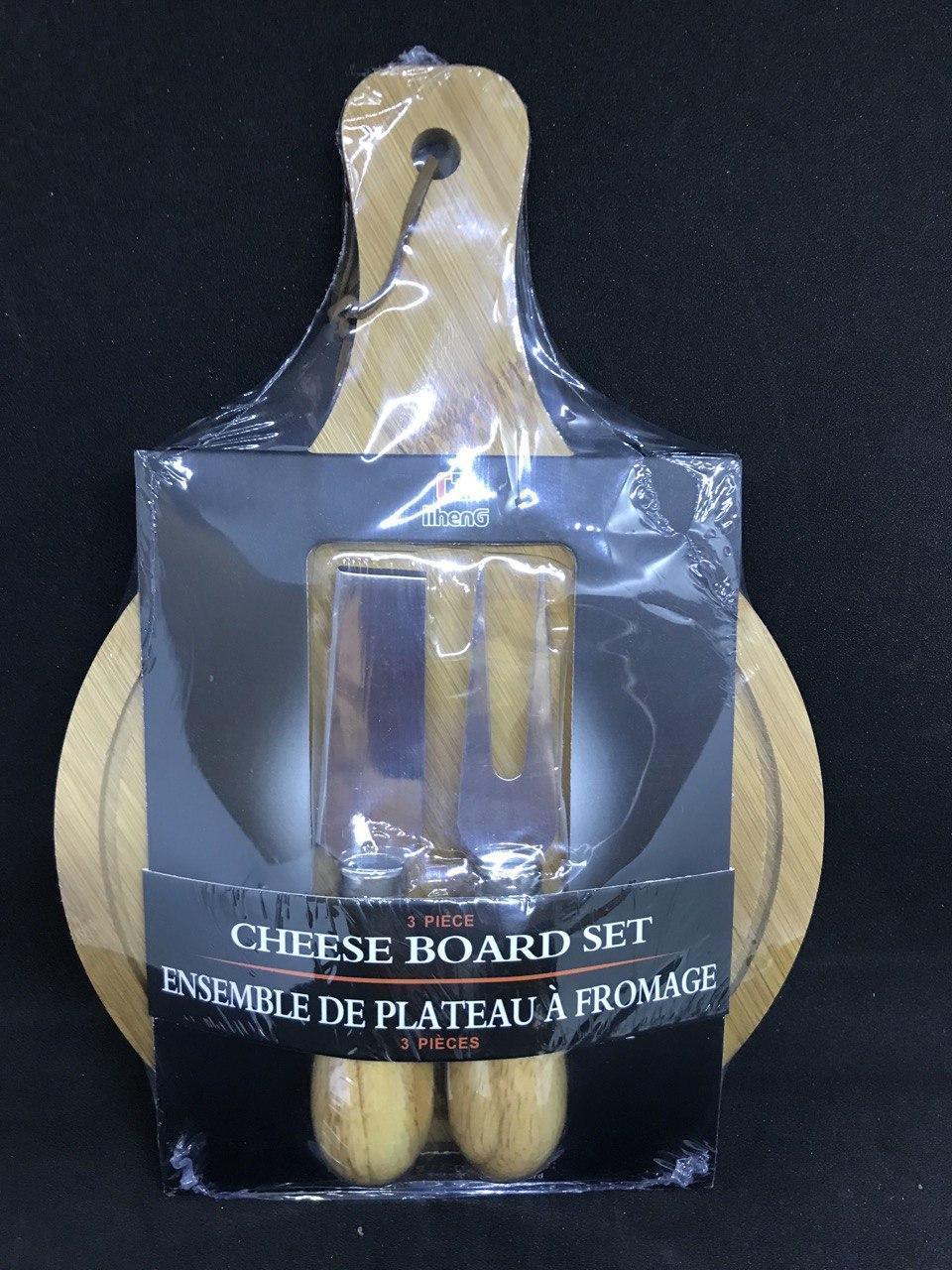 Сырный набор для одной персоны (лопатка, вилка, доска)