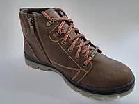 Кожаные мужские коричневые оливковые удобные модные стильные зимние ботинки Mida