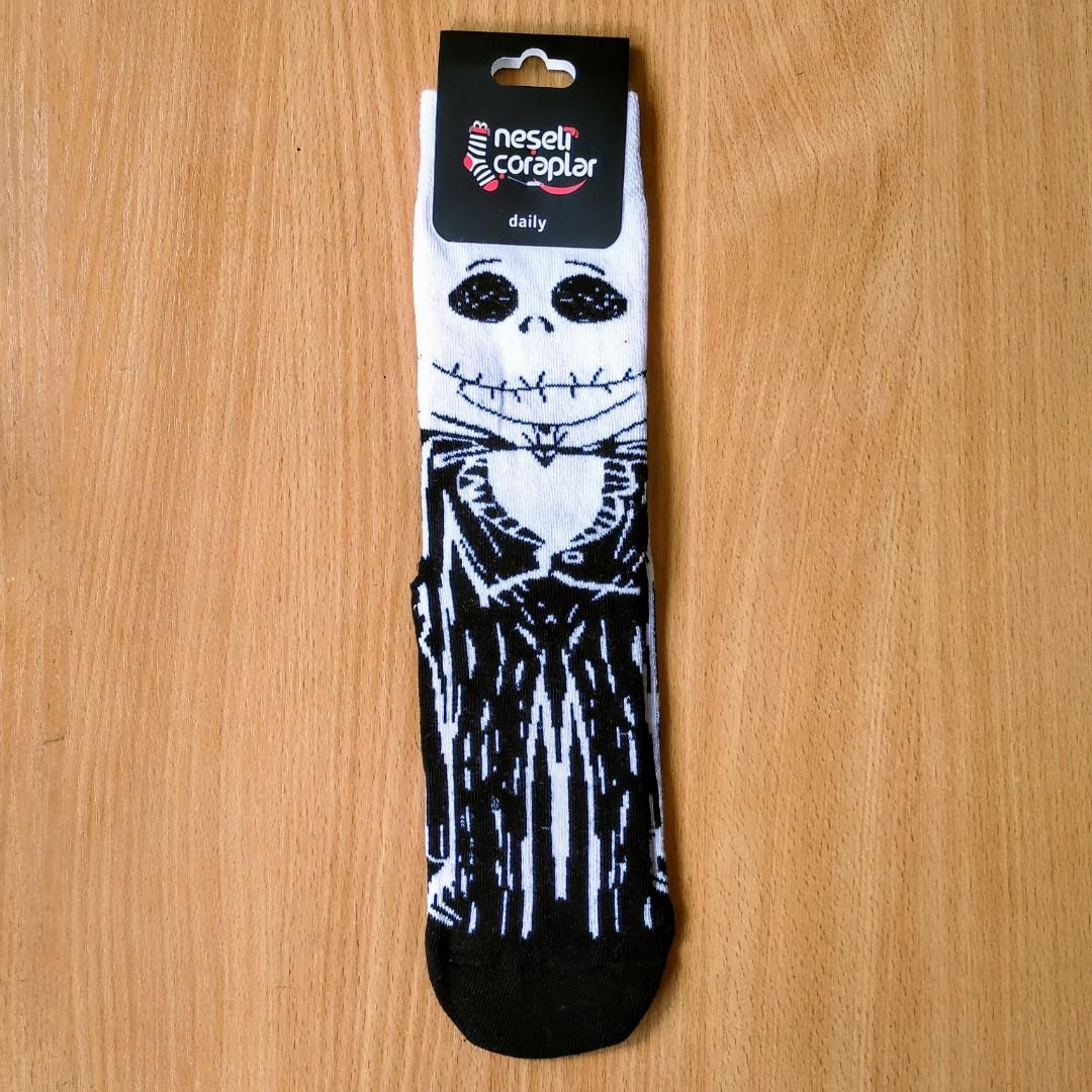 Носки высокие с принтом Скелет Джек размер 37-43