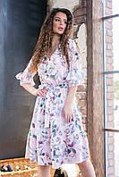Летнее платье с рюшами арт.200 роза на светлом фоне ( №02)