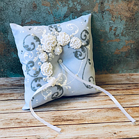 Свадебная подушечка под кольца 16хх16 см, Белая (300)