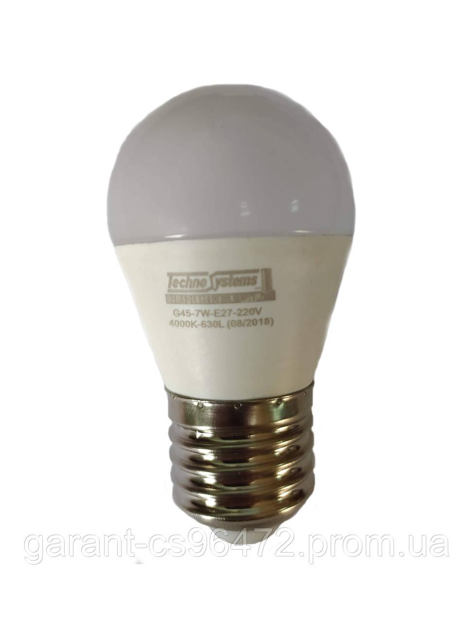 Лампа светодиодная LED Bulb-G45-7W-E27-220V-4000K-630L ICCD (шар) TNSy