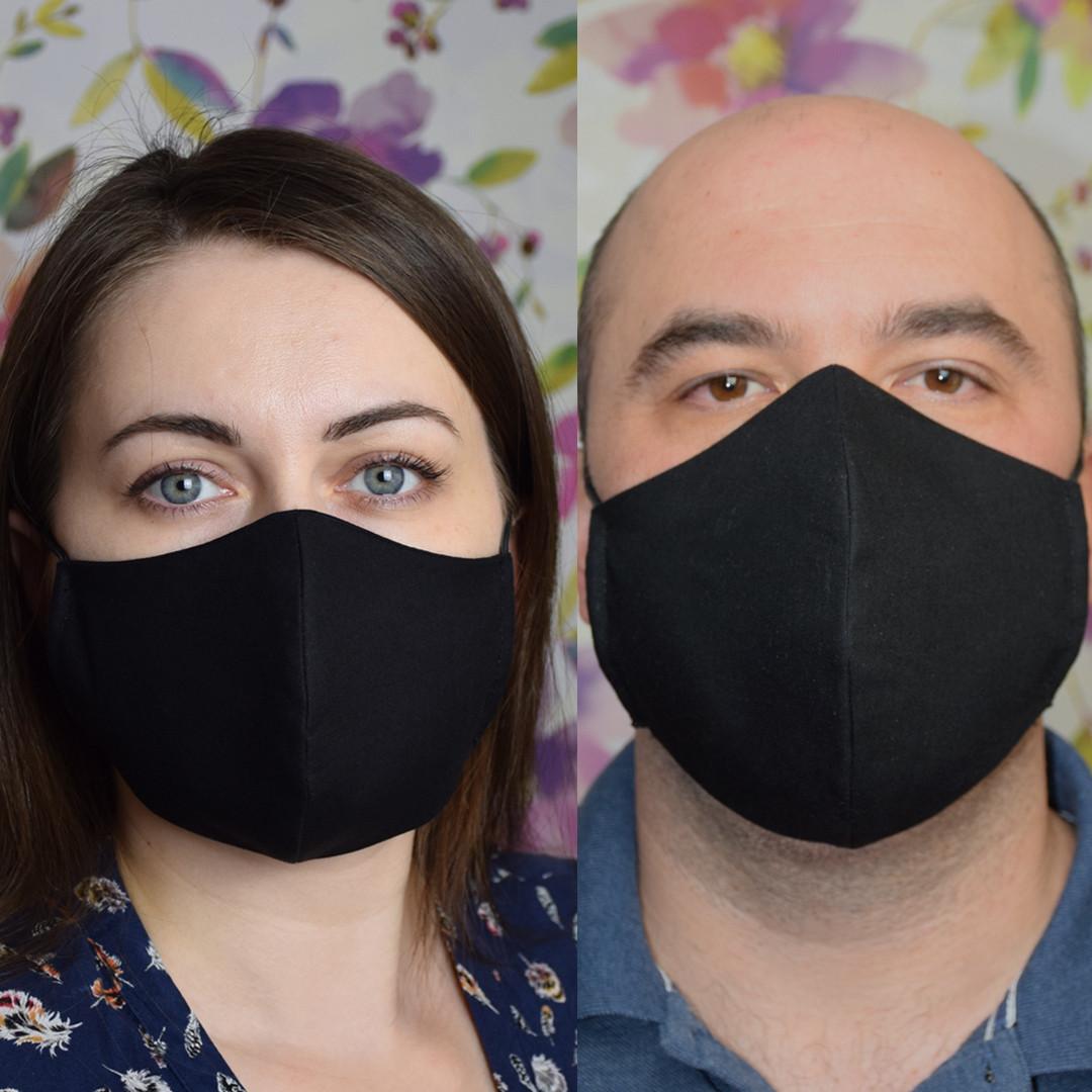 """2 шт маска защитная черная """"Пара"""" трехслойная многоразовая. Мужская и женская"""