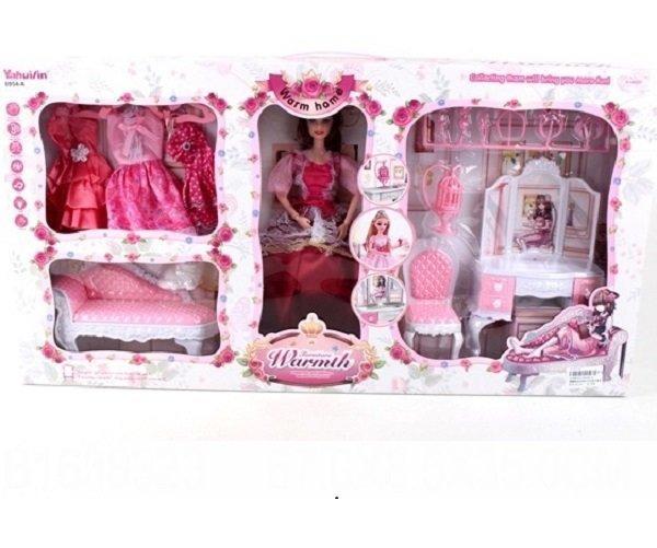 Набор кукла с мебелью и одеждой
