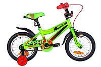 """Велосипед детский с боковыми колесами Formula Race 14"""" зелено-черный"""