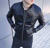 Куртка кожанка мужская кожаная куртка весна-осень черная Турция. Живое фото. Чоловіча весняна куртка