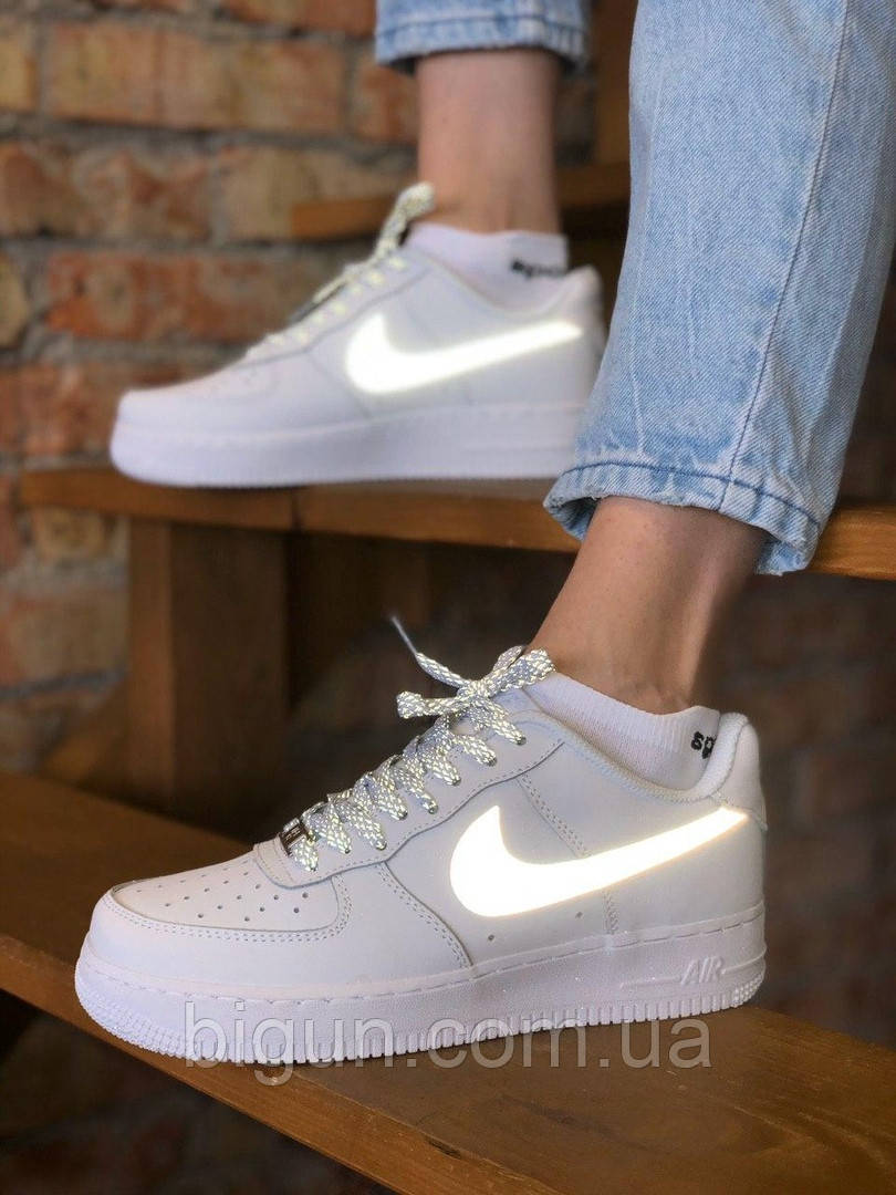 Женские кроссовки Nike Air Force 1 Low Reflective White (найк аир форс, белые/рефлективные )