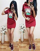 Платье худи летнее с котом TK1692