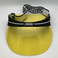 Женский солнцезащитный козырек Diоr с черным ободком прозрачный желтый, фото 1