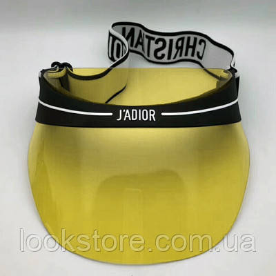 Женский солнцезащитный козырек Diоr с черным ободком прозрачный желтый