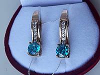 Золотые серьги 585 пробы с голубым топазом, фото 1