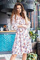 Летнее платье с рюшами арт.200 мелкий цветочек на светлом фоне ( №09)