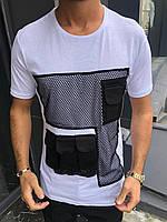 Стильная мужская хлопковая белая футболка с накладной сеткой