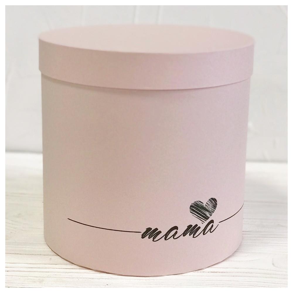 """Шляпная коробка """"Мама"""" розовая  d20 h20 см"""