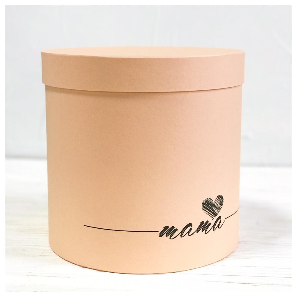 "Шляпная коробка ""Мама"" персиковая  d20 h20 см"