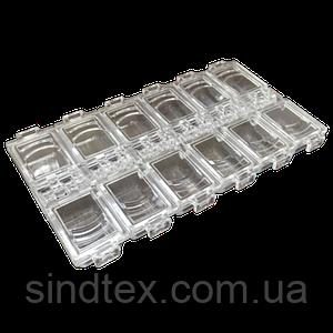 13,5х7х1,5см 12 ячеек пластиковая тара (контейнер, органайзер) для рукоделия и шитья (657-Л-0230)