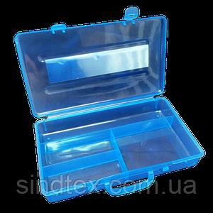 23х12,5х3см на 4 ячейки пластиковая тара (контейнер, органайзер) для рукоделия и шитья (657-Л-0402)