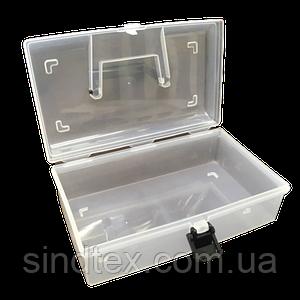 22,5х13х8см пластиковая тара (чемоданчик, контейнер, органайзер) для рукоделия и шитья (657-Л-0692)