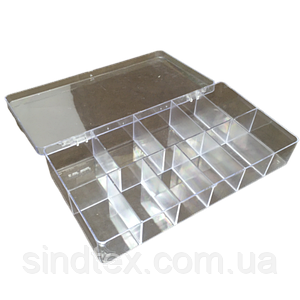 20,5х10,5х3см на 11 ячеек пластиковая тара (контейнер, органайзер) для рукоделия и шитья (657-Л-0242)