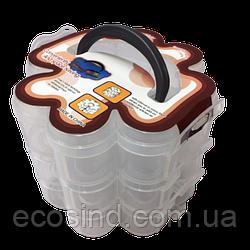 14х12х3,5см пластикова тара (валізку, контейнер, органайзер) для рукоділля та шиття (657-Л-0210)