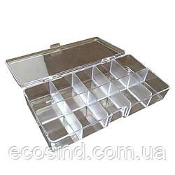 13х8,5х3см 10 ячеек пластиковая тара (контейнер, органайзер) для рукоделия и шитья (657-Л-0694)