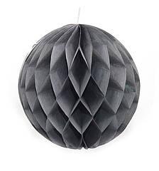 Бумажный шар соты 20 см (серый)