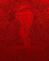"""А3 """"Закохані (червоний) схема для вишивки бісером, фото 1"""