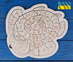 Алфавіт, абетка, російський дерев'яний пазл, черепаха