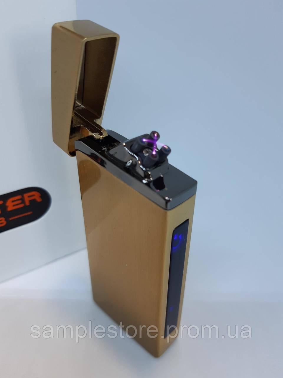 Электроимпульсная USB зажигалка две дуги Gerald Gold
