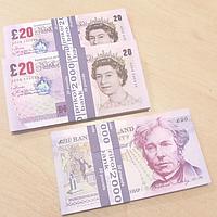 Хит! Сувенирные Деньги 20 фунтов стерлингов 80 шт/уп, качественные деньги прикол