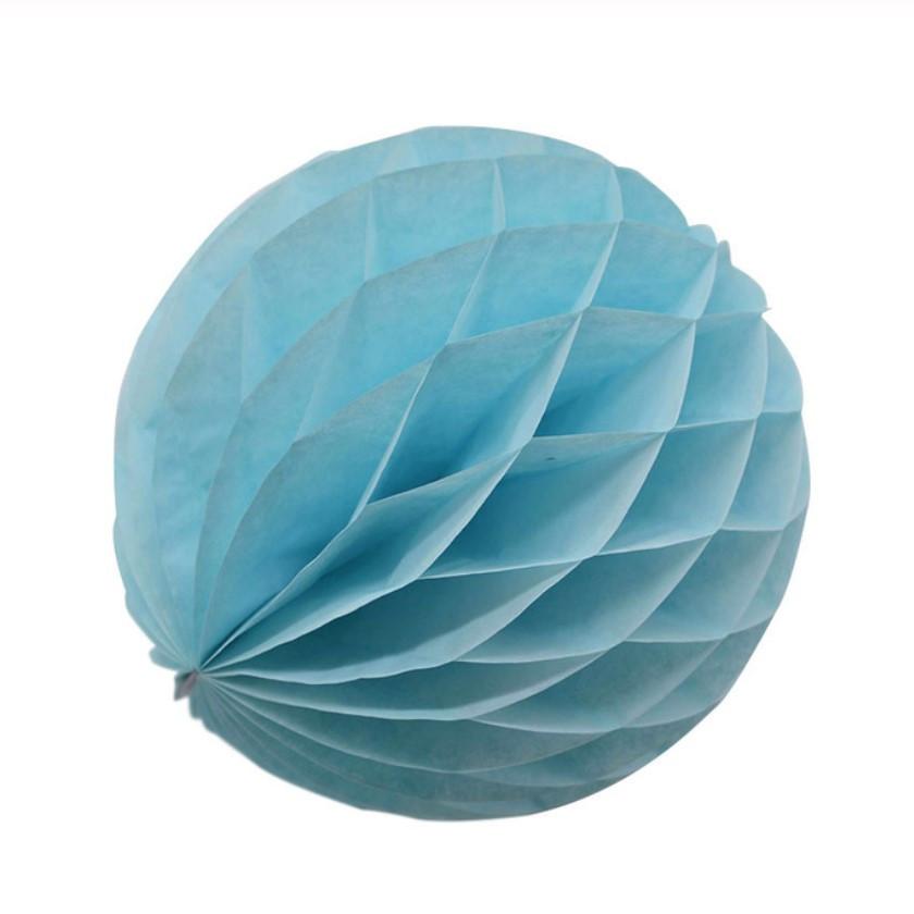 Бумажный шар соты 15 см (голубой)