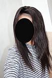 Парик натуральный темно-коричневый на сетке с имитацией кожи головы, фото 7
